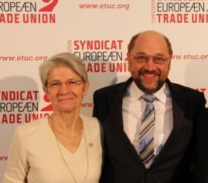 « Je l'espère, un grand nombre de socialistes européens seront élus », Bernadette Ségol (Confédération européenne des syndicats -CES) dans Europe 140307_s%C3%A9gol_schultz-300x264